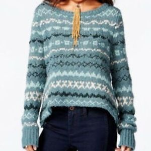 Free People Teal Blue Chunky Knit Sweater